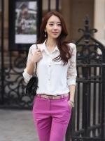 เสื้อแฟชั่นเกาหลี ทรงเชิต แขนสามส่วน ช่วงแขนเสื้อเย็บตกแต่งลูกไม้แก้ว สีขาว เรียบหรู