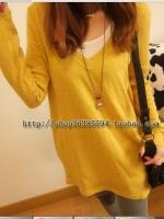 เสื้อแขนยาวแฟชั่น คอ v เนื้อผ้า cotton ยืดคลายไหมพรม สีเหลืองทอง