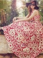 แม๊กซี่เดรสลายดอกไม้โบฮีเมียนกระโปรงชายหาด สีแดง-ขาว