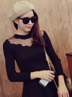 เสื้อแขนยาวผ้ายืดสีดำ