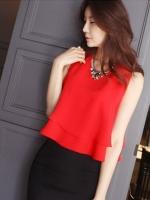 เดรสแฟชั่นเกาหลี ผ้า 2 ชิ้น กระโปงดำ เสื้อแดง