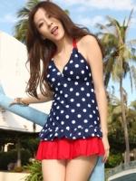 พร้อมส่ง ชุดว่ายน้ำ Tankini เซ็ต 3 ชิ้น เสื้อสีน้ำเงินแต้มจุดขาว กระโปรงระบายสีแดงสวย (เสื้อTankini +บิกินี่+กระโปรง)