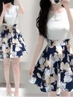 เดรสแฟชั่นเกาหลี ตัดต่อด้วยผ้า 2 ชิ้น ทรงเข้ารูป ช่วงกระโปรงลายดอกไม้สีสวย