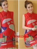 MK9501 เดรสคลุมท้องแฟชั่นเกาหลี โทนสีแดงคอจีน มีซัปในทัั้งตัวผ้านิ่มใส่สบายมากๆ ค่ะ