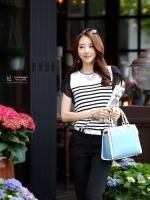 เสื้อแฟชั่นเกาหลี แขนสั้น สีขาว-ดำ