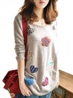 เสื้อแขนยาวแฟชั่นเกาหลี ปักลายด้านหน้าน่ารัก ๆ