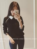 เสื้อแฟชั่นเกาหลี แขนยาว ตัดเย็บแบบคอปก สวยเก๋ สีดำ