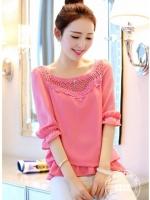 เสื้อแฟชั่นเกาหลี จั๊มชายแขนเสื้อน่ารัก ๆ ปักเย็บลูกไม้ลายเก๋ช่วงคอเสื้อ สีชมพู