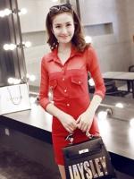 ชุดเดรสผู้หญิงแฟชั่นสีแดง