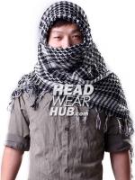 ผ้าพันคอชีมัคลายตาราง : สีขาวดำ