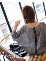 เสื้อแฟชั่นเกาหลี ตัวเสื้อทรงปีกค้างคาว เย็บแต่งซิปด้านหลังเก๋ ๆ สีเทา