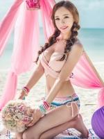 พร้อมส่ง ชุดว่ายน้ำ Bikini ผูกข้าง ทูพีซ บราโทนสีส้มอ่อนๆ ลายโบฮีเมียนสวยๆ