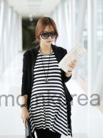 MS191 เสื้อคลุมท้องแฟชั่นเกาหลี โทนสีดำสลับขาว ไม่มีเสื้อคลุมค่ะ เนื้อผ้านิ่มๆ มากๆ ค่ะ
