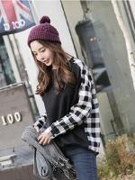 เสื้อแขนยาวแฟชั่นเกาหลี ตัดต่อแขนและด้านหลังด้วยผ้าลายสก๊อตเก๋ๆ