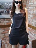 จั๊มสูทแฟชั่นเกาหลี ขาสั้น เสื้อแขนกุด สีดำ