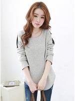 เสื้อแฟชั่นเกาหลีแขนยาว ชายโค้ง สีเทา+ดำ