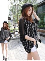เสื้อแฟชั่นเกาหลี ผ้าชีฟองโปรงทรงหลวม สีดำ