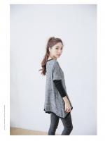 เสื้อแขนยาวแฟชั่นเกาหลี ตัอต่อช่วงแขนเก๋ ๆ สีเทา