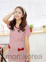 MK264 เสื้อให้นมแฟชั่นเกาหลี 2 in 1 สีแดงสลับขาว ตรงกระเป๋ามีโบว์สองข้าง ตรงชายกระโปรงแต่งด้วยลูกไม้