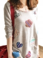 เสื้อแขนยาวแฟชั่นเกาหลี ปักลายด้านหน้าน่ารัก ๆ สีเบจ
