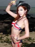 พร้อมส่ง ชุดว่ายน้ำ Bikini ผูกข้าง บราสายคล้องคอลายธงชาติสวยๆ