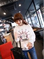 เสื้อกันหนาวแฟชั่นเกาหลี ปักลายเก๋ สีขาว