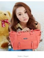 กระเป๋า PG美人 หนัง pu สีชมพูอมส้ม