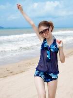 PRE ชุดว่ายน้ำวันพีซ สายคล้องคอ ตัวเสื้อยาวติดกางเกง ซีทรู สีน้ำเงินกรมท่าลายใบไม้สวย