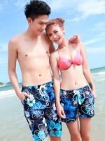 PRE กางเกงขาสั้นคู่รัก Couple beach pant ลายดอกไม้โทนน้ำเงินดำสวย
