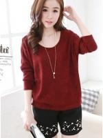 เสื้อแฟชั่นเกาหลี แต่งบุผ้าซีทรูปักลายผีเสื้อด้านหลัง สีแดง