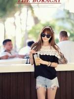 เสื้อแฟชั่นเกาหลีแขนสั้น แต่งโครเชต์ไหล่เก๋ๆ สีดำ
