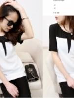 เดรส/เสื้อตัวยาว เกาหลีตัดต่อผ้า 2 สีขาว-ดำ