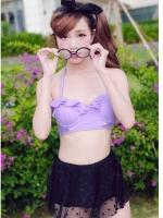 พร้อมส่ง ชุดว่ายน้ำเอวสูง บราสีม่วงพาสเทล กางเกงกระโปรงผ้าลูกไม้ซีทรู