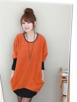เสื้อแขนยาวไหมพรมสีส้ม