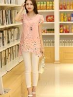 เสื้อตัวยาวแฟชั่นเกาหลี แต่งแบบ 2 ชั้น พิมพ์ลายตามภาพ ชั้นนิกบุลายดอกไม้สวยเก๋ สำเนา
