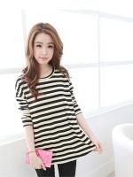 เสื้อเกาหลีทรงยาว คอกลมแขนยาว ลายขวาง สีขาว-ดำ