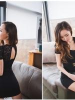 พร้อมส่ง เดรสสั้นผ้าคอตต้อนสีดำ คอวี ตัดต่อส่วนของเสื้อคลุมเป็นผ้าลูกไม้ แต่งเข็มขัดด้านหน้า ผ่ากลางหลังสวยมากๆ