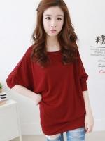 เสื้อแฟชั่นเกาหลี แขนสี่ส่วนทรงค้างคาว สีแดง