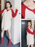 เสื้อตัวยาวลายขาวสลับแดง