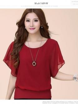 เสื้อแฟชั่นเกาหลี แต่แขนเสื้อระบายใหญ่ มีซับใน สีแดงเข้ม