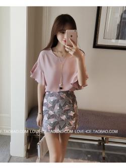 เสื้อแฟชั่นเกาหลี แขน 2 ส่วนแต่งระบายใหญ่ สวยเก๋ สีชมพูนู๊ด + สร้อยคอ