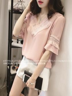 เสื้อแฟชั่นเกาหลี คอวี เย็บแต่งคอเสื้อสวยเก๋ๆ สีชมพูนู๊ด