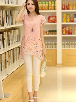เสื้อตัวยาวแฟชั่นเกาหลี แต่งแบบ 2 ชั้น พิมพ์ลายตามภาพ ชั้นนิกบุลายดอกไม้สวยเก๋