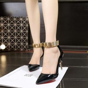 รองเท้าส้นสูงสไตล์เกาหลีสีดำ
