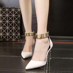 รองเท้าส้นสูงสไตล์เกาหลีสีขาว