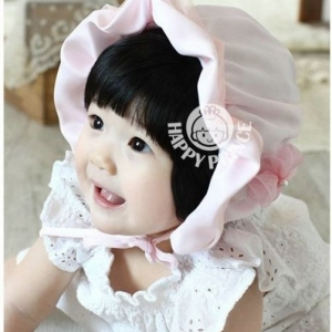 หมวกเด็กหญิง สีขาว สีชมพู MC43