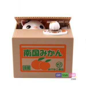 กระปุกออมสินแมวขโมย สีขาว Itazura Coin Bank PA0094