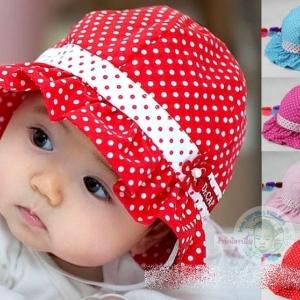 หมวกเด็กหญิง สีชมพูเข้ม สีชมพู สีแดง สีฟ้า MC92