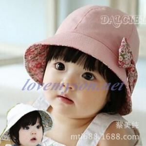 หมวกเด็กผู้หญิง ลายดอกใส่ได้สองด้าน MC117