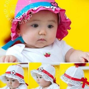 หมวกเด็กหญิง  สีชมพูเข้ม สีขาว  MC87
